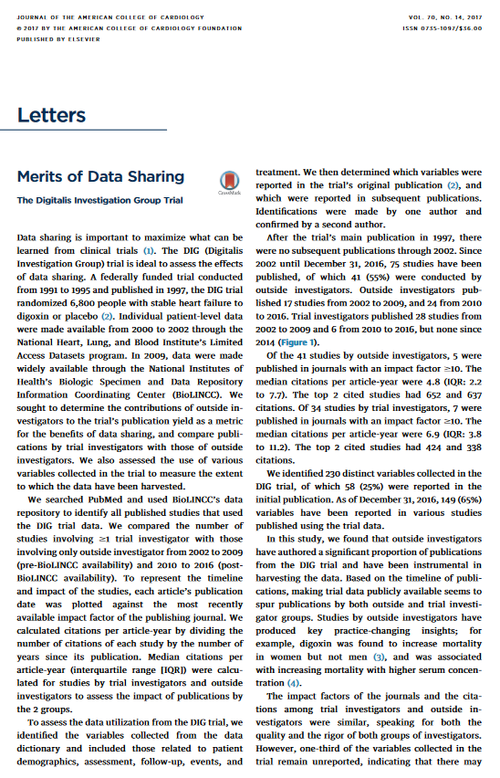 Research Letter: Merits of data sharing: the Digitalis Investigation Group trial