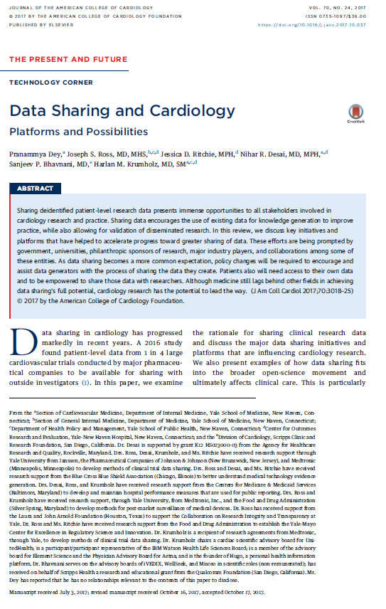 Data sharing and cardiology: Platforms and possibilities
