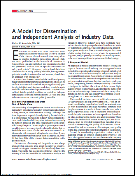 A model for dissemination and independent analysis of industry data