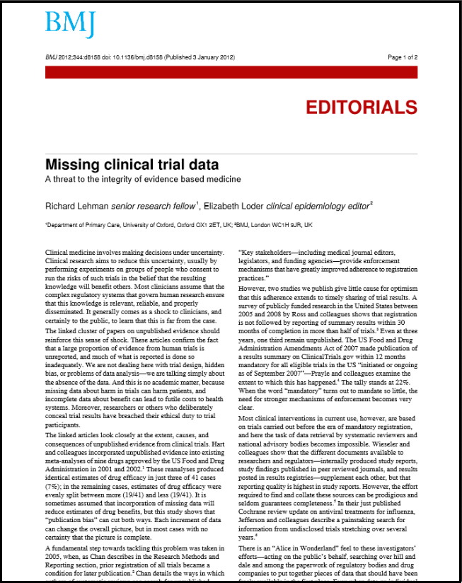 Missing clinical trial data