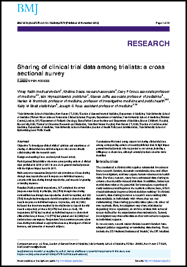 Sharing of clinical trial data among trialists: A cross sectional survey.