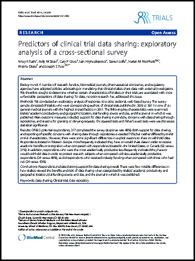 l trial data sharing: Exploratory analysis of a cross-sectional survey
