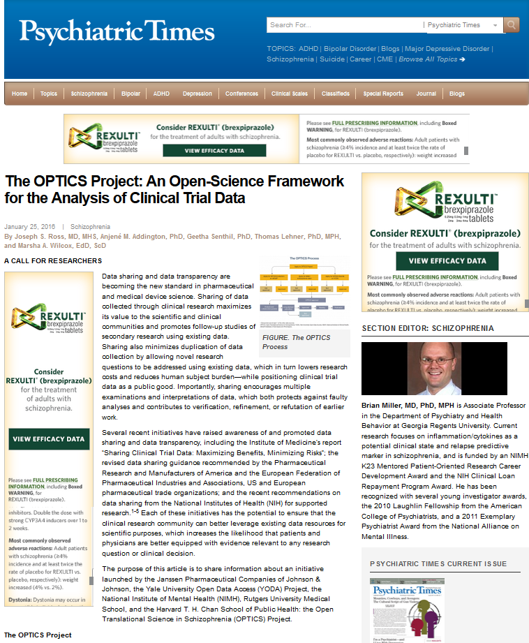 The OPTICS Project: An open-science framework for the analysis of clinical trial data</a>. <em>Psychiatric Times