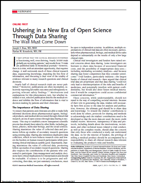 Ushering in a new era of open science through data sharing: The wall must come down.