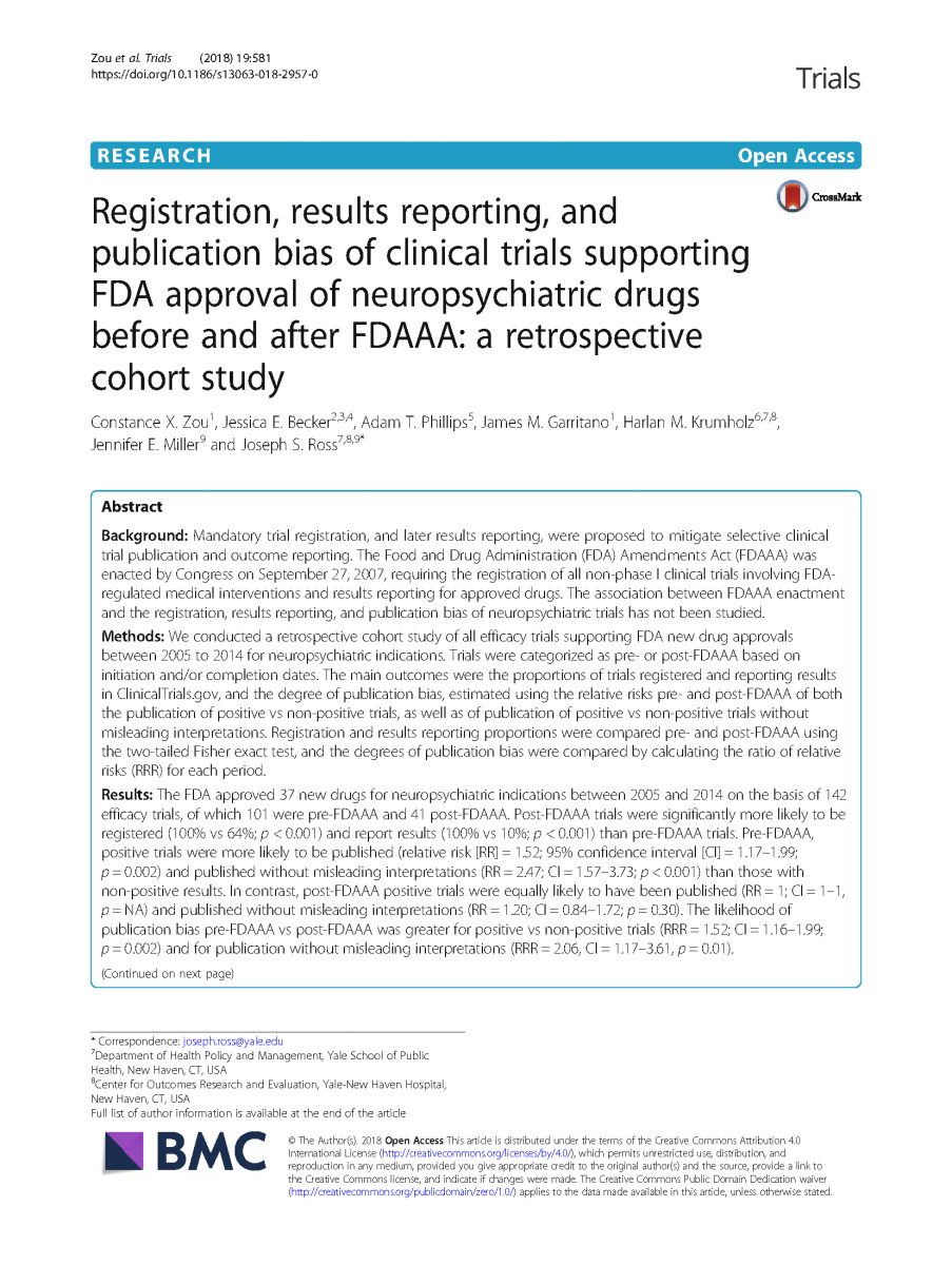 Registration, results reporting, and publication bias of clinical trials supporting FDA approval of neuropsychiatric drugs before and after FDAAA: a retrospective cohort study